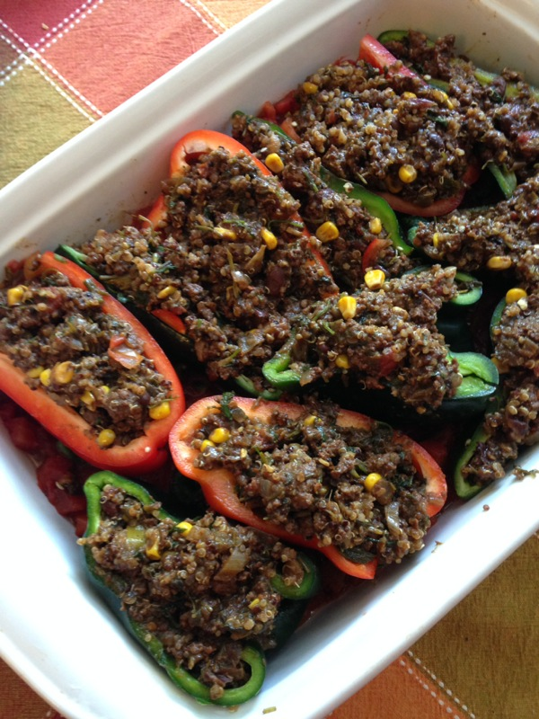 Beef and Quinoa Stuffed Peppers (pre-baking)