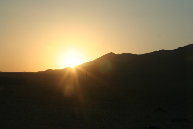The mountains around Palmyra at sunset